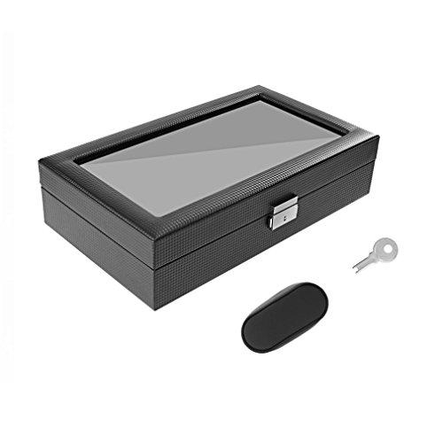 ulable 12Slots Jewelry Display Armbanduhr Aufbewahrungsbox Halter Glas Fenster Top Organizer (Erstellen Balance)