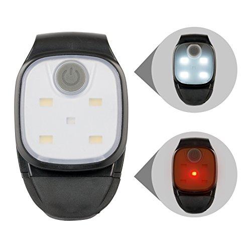 ASIGO LED Cliplampe, Stirnlampe, Kopflampe, Jogginglampe, Sicherheitslicht, superhelles Weißlicht in 4 Helligkeitsstufen + blinkendes Rotlicht …