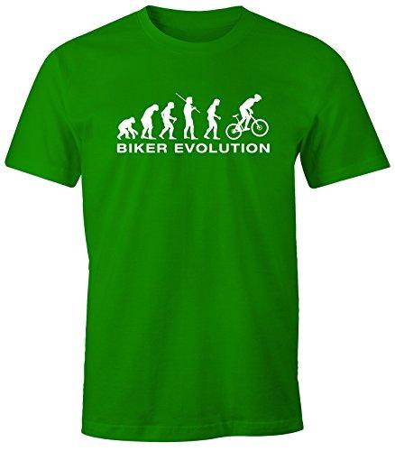 Herren T-Shirt - Mountainbike Fahrrad Fahrer Biker Evolution - Comfort Fit MoonWorks® Grün