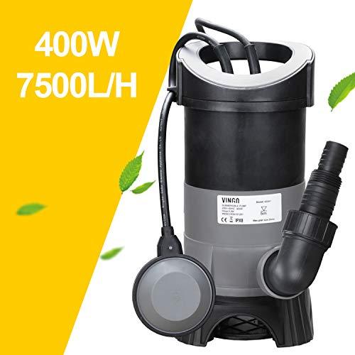 Wolketon 400W Tauchpumpe Schmutzwassertauchpumpe Schwimmerschalter Automatik- und Dauerbetrieb Flachsaugend Gartenbewässerung