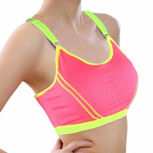 Sunnywill Frauen Yoga Sportlich Solide Wrap Brust Gurt Weste Tops Sportbüstenhalter für Mädchen Frauen Damen Hot Pink