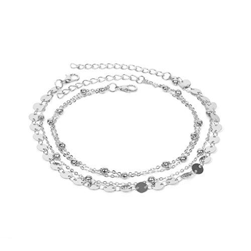 TAOtTAO Gold Silber Knöchel Armband Frauen Fußkette Einstellbare Kette Fuß Strand Schmuck (Silber)