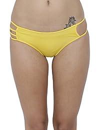 1b4b112c21fd BASIICS by La Intimo Women's Polyester Spandex Erótico Exotic Bikini  Panty_BCPBK03YW0_Yellow