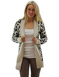 Fast Fashion - Cardigan Aztèque Tribal léopard Imprimé Tricoté Ouvert - Femme (M = 40, Léopard Pierre)