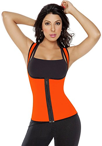 QianSheng Outdoor Sport Ultra la transpiration Fitness Tight réversible Gilet serre-taille Tour de taille Trainer Panty Femme Corset galbant moyen Orange