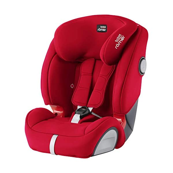 Britax Römer EVOLVA 1-2-3 SL SICT Group 1-2-3 (9-36kg) Car Seat - Fire Red  Installation, ISOFIX and a 3-point seat belt, or 3-point seat belt only Enhanced Side Impact Protection (SICT) minimises the force of an impact in a side collision CLICK & SAFE audible harness system for that extra reassurance when securing your child in the seat 1