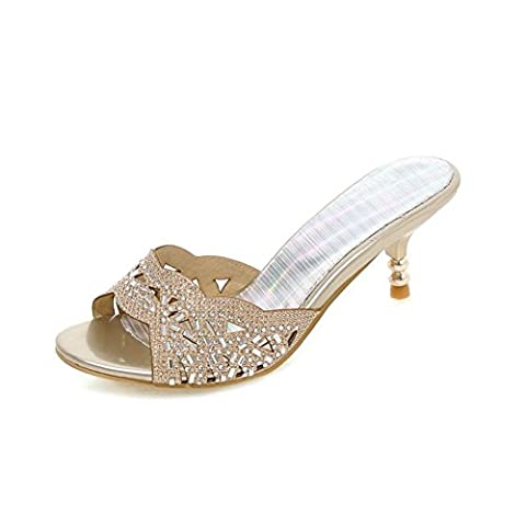 European and American women sandals and slippers/Rhinestone Hollow/Sweet fine with slippers/Fish head word drag shoes-A Foot length=23.8CM(9.4Inch)