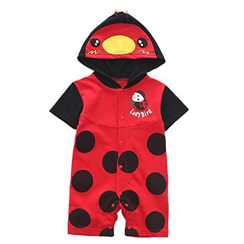 Riou Jumpsuits Anzug,Baby Kleidung Mädchen Jungen (0-24 Monate) Karikatur Druck Overalls Sommerkleidung Sommer Party Spielanzug Strampler Bodys Einteiler (12M, Rot)