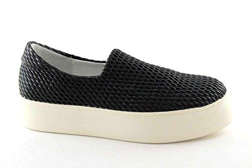 FRAU 37Y0 nero scarpe donna sneakers slip-on elasticizzata plateaux 39