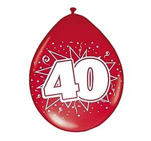 Folat - Globos con número 40 (8 unidades), color rojo rubí