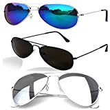#7: Set of 3 Combo Aviator Sunglasses for Boys Girls Mens Womens (Silver Blue Merc) (Silver Silver Merc) (Black Black)