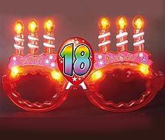 Idea Regalo - Occhiali LUMINOSI di COMPLEANNO 18 ANNI a led - idea regalo scherzo gaget per la festa e il party di compleanno per il neo maggiorenne - colore causuale