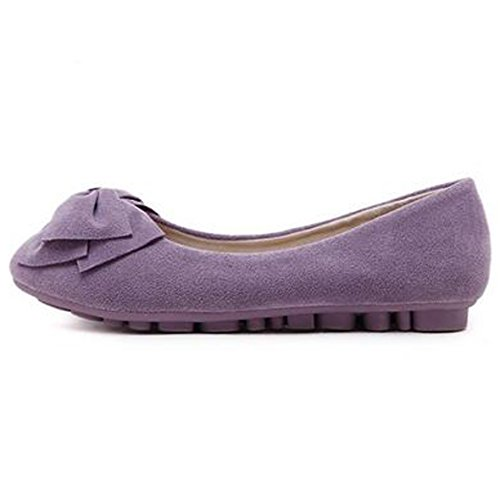 SUNAVY Damen Schmetterling Mokassins Ballerinas,2017 New Mädchen Komfortable Bow Loafers Slippers Halbschuhe Flach Fahren Schuhe(EU 34--EU 43) DarkLila