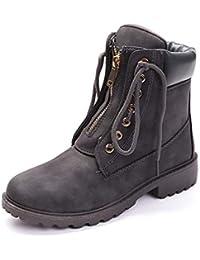 Botas de Mujer Cuero Impermeables Botines Invierno Moda Zapatos Nieve Piel Forradas Calientes Planas Martin Boots