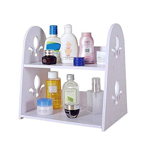 ZRL77y Kosmetische Ablage Bad Organizer Desktop Bücherregal 2 Tier Wasserdicht Leicht Zu Reinigen Holz Kunststoff Brett Regal -