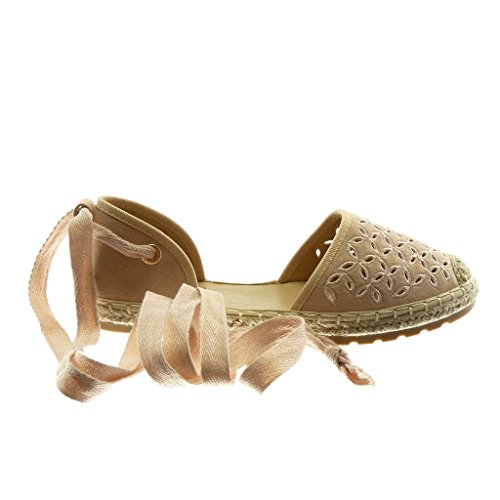 Angkorly Damen Schuhe Espadrilles Sandalen - Offen - Perforiert - Blumen - Seil Flache Ferse 2 cm Hellrosa