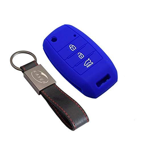 kaser Funda Silicona para Kia Hyundai - Carcasa Llaveros 3 Botones para Coche Sportage Piccanto Rio Venga Sorento Cover Case Protección Remoto Mando Auto (Azul)