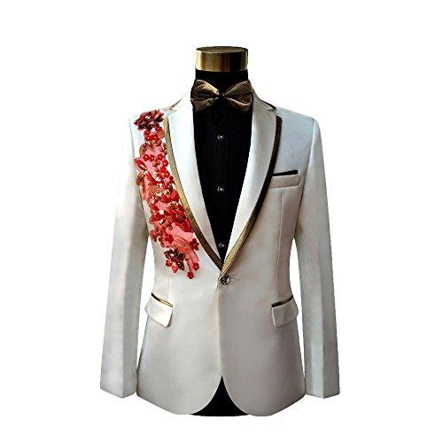 Cloudstyle Haut de costume deux-pièces une bouton veste+pantalon affaires décontraction mariage et animateur-rabattre collet Blanche 1