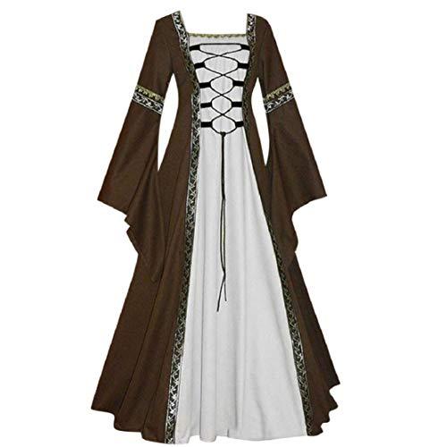 Größe Plus Billige Kostüm - Bluelucon Damen Mittelalterliche Kleid Gothic Prinzessin Kleid Hohe Taille unregelmäßige Lange Ärmel Cosplay Maxi-Kleid Plus Größe Übergroß Renaissance Party Kostüm