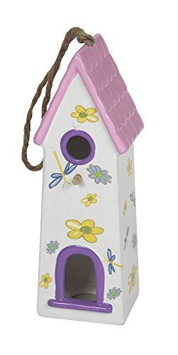 Keramik Vogelhaus Dach mit Pfannen - groß rosa