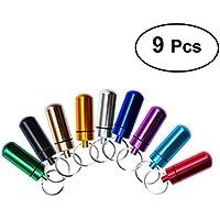 VORCOOL Pillendose Tablettenbox Schlüsselanhänger mit Schutzhülle Wasserdichtet aus Aluminium 9 Stücke preisvergleich bei billige-tabletten.eu