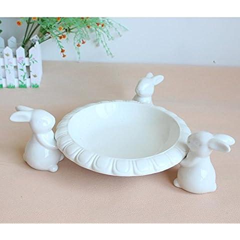 YRZT Artesanía de plataforma creativa decoración cerámica conejo , lotus disc 29*29*10