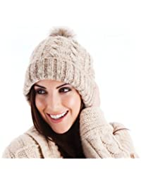 New Ladies Knitted Hat With Faux Fur Pom Pom Outdoor Winter - One Size Fits Most