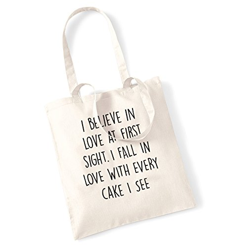 I believe in love at first sight. I fall in love with every cake I see. tote bag