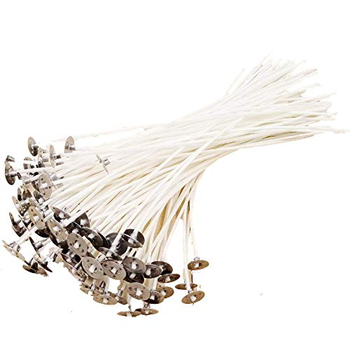 Jzk 100 stoppini candele 20 cm con base, senza fumo, già cerata, filo cotone naturale, stoppino candela per fare candele fai da te, bianco