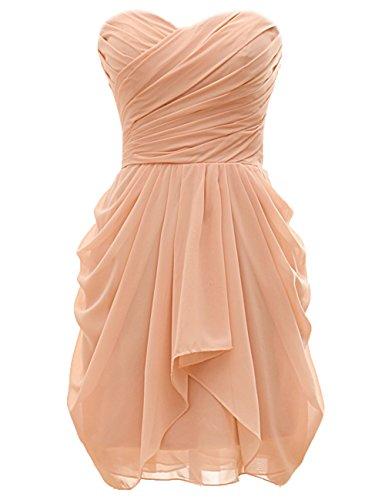 Bridal_Mall Damen Herzform Brautjungfernkleid Kurz Einfach Chiffon Cocktailkleid Partykleid Champagner