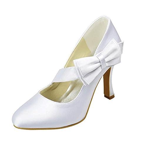 Minitoo Girls Womens Slip-on White Satin Evening Shoes Bridal Wedding Pumps UK 3.5