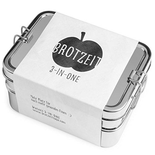 Brotzeit Lunchbox 3in1-3 Teilige Brotdose Jausenbox aus Edelstahl - 100% BPA Frei (smal)