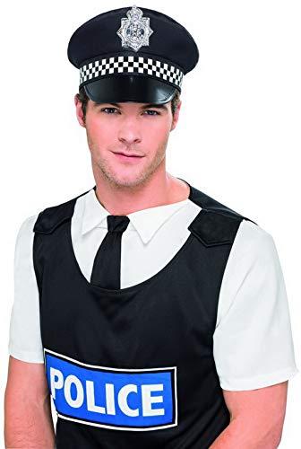 Englisch Kostüm Bobby - Luxuspiraten - Kostüm Accessoires Zubehör Englischer Bobby Polizeimütze Hut mit Abzeichen, perfekt für Karneval, Fasching und Fastnacht, Schwarz