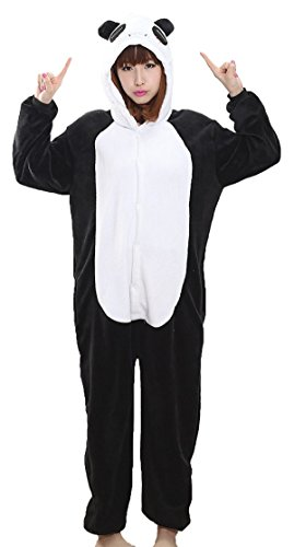 VADOO Winter Warm Flannel Onesie Pajamas Adult Unisex One Piece Jumping Panda ()