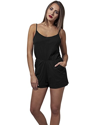 Urban Classics Damen Jumpsuit Ladies Short Spaghetti, Schwarz (Black 7), Medium - 4
