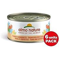 Almo Nature Megapack Tonno e Gamberetti -Cibo umido naturale per gatti adulti (6 x 70gr-lattina)