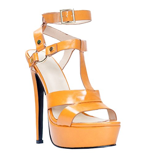 Kolnoo Femmes Handmade 145mm dames haut talon plateforme sandales gladiateur boucle chaussures cheville brown