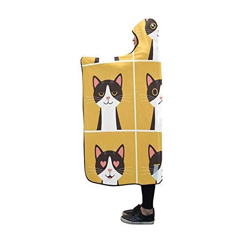 JOCHUAN Mit Kapuze Decke Tier Flaches Design Emotion Katze Gesicht Decke 60 x 50 Zoll Comfotable Mit Kapuze werfen Wrap