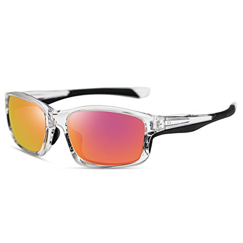 Yufenra polarizadas gafas de deporte para running ciclismo pesca actividades al aire libre (marco transparente/lente de espejo azul)