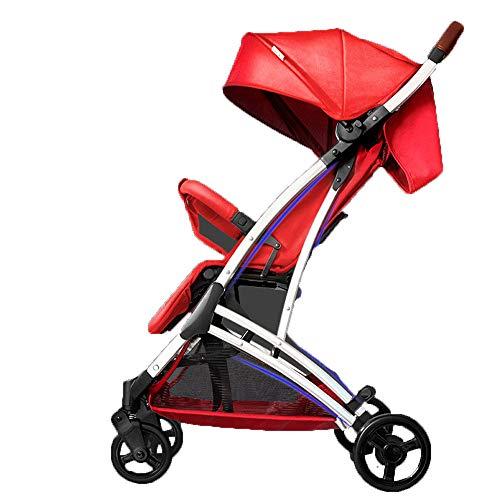 DYFAR Kleiner Faltbarer Buggy mit Vier Rädern und einhändig zusammenklappbarer Liegeposition Höhenverstellbarer Schiebegriff von Geburt an bis 25 kg Stoßstange, red