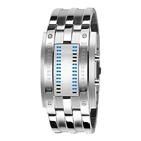 Mode binaire Circuit Slate Armée ShockProof militaire Inoxydable Acier Wrist Watch 28 LED pour date et l'heure d'affichage Hommes Montre