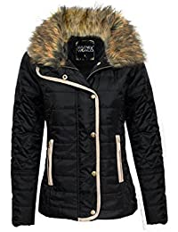 CANDY FLOSS LADIES DIAMOND QUILTED FUR COLLAR ZIP PADDED JACKET