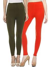 Sakhi Sang Leggings Pack of 2 : Olive Green & Orange
