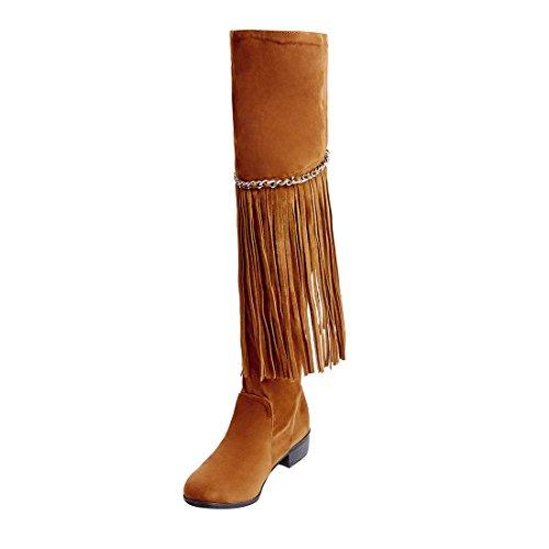 UH Damen Flache Overknee Stiefel Overkneestiefel mit Fransen und Kette Fashion Lang Boots - Braune Wildleder Fransen