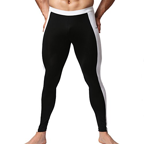 Seawhisper Herren Thermal Lange Johns Hosen Laufsport Shorts Jogging Fest Hose(Schwarz, M) (Bike-shorts-leggings-strumpfhosen)