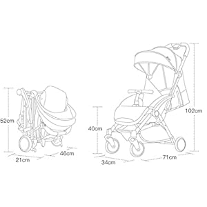 MU Comfortable Pushchairs Stroller Can Sit Reclining Light Folding Shockproof Baby Child Trolley Travel 0~3 Years Old,Blue   3