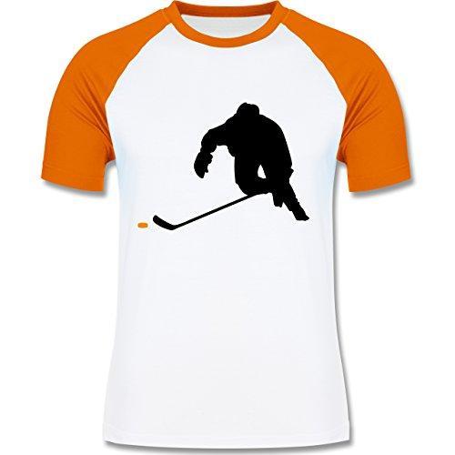 Eishockey - Eishockey Sprint - zweifarbiges Baseballshirt für Männer Weiß/Orange