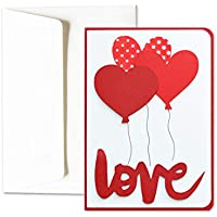 Je t'aime - balloons - cœur - Saint-Valentin - carte de voeux avec enveloppe (15 x 10,5 cm) - carte faite à la main - blanc à l'intérieur