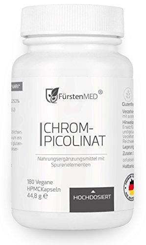 FürstenMED® Chrom Kapseln aus Chrompicolinat - Essentielles Spurenelement mit 500 mcg hochdosiert - 180 Vegane Kapseln aus Deutschland - keine Tabletten