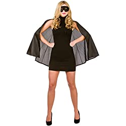 New Black Satin Superhero Cape & Mask - Adult Accessory Adult - One Size